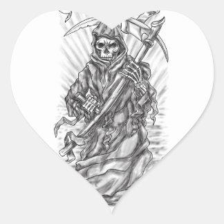 Tatouage de ruban de faux de faucheuse sticker cœur