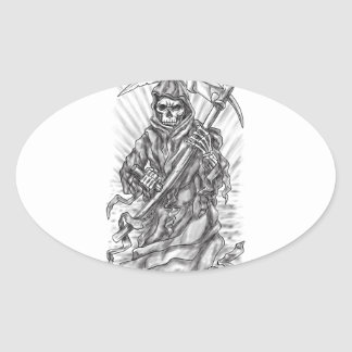 Tatouage de ruban de faux de faucheuse sticker ovale