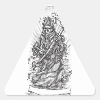 Tatouage de ruban de faux de faucheuse sticker triangulaire
