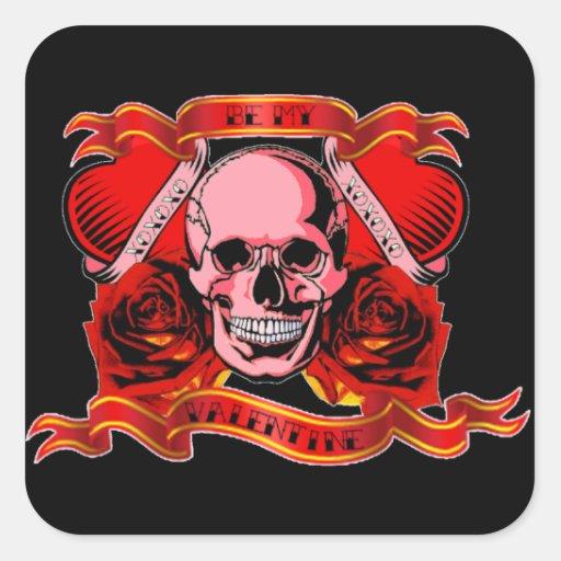 Tatouage de Skully Valentine Autocollant Carré