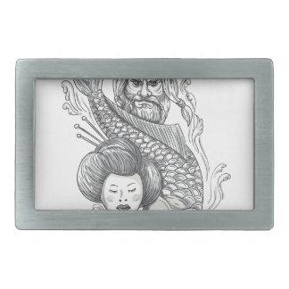 Tatouage de tête de geisha de carpe de Viking Boucles De Ceinture Rectangulaires