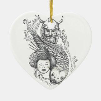 Tatouage de tête de geisha de carpe de Viking Ornement Cœur En Céramique