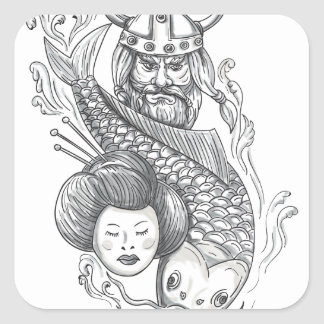 Tatouage de tête de geisha de carpe de Viking Sticker Carré