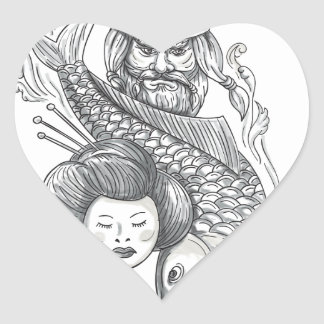 Tatouage de tête de geisha de carpe de Viking Sticker Cœur