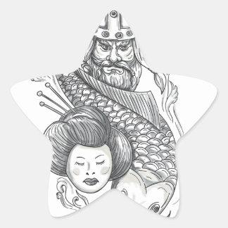 Tatouage de tête de geisha de carpe de Viking Sticker Étoile