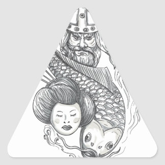 Tatouage de tête de geisha de carpe de Viking Sticker Triangulaire