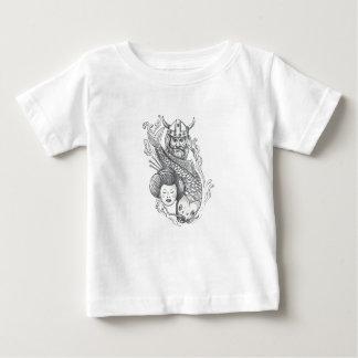 Tatouage de tête de geisha de carpe de Viking T-shirt Pour Bébé