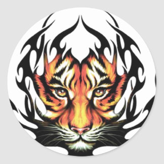 Tatouage de tigre sticker rond