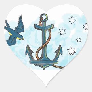 Tatouage du sud d'étoile d'hirondelle d'ancre sticker cœur