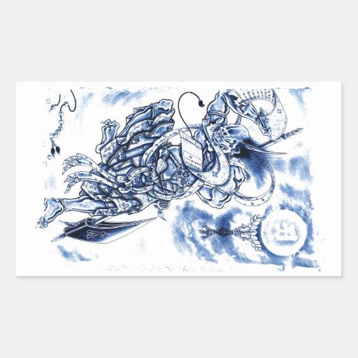 Tatouage japonais classique frais de démon autocollants rectangulaires