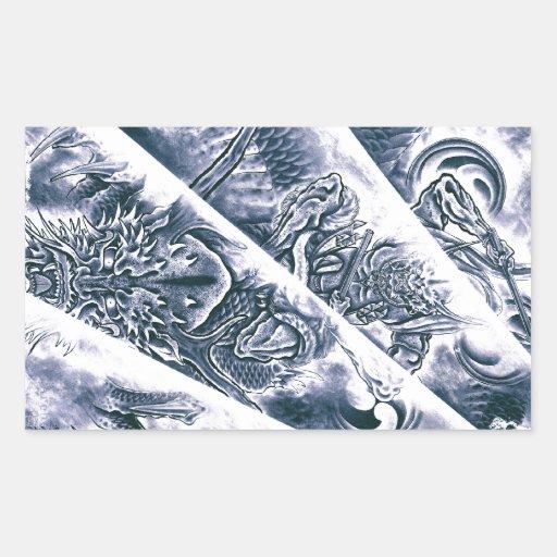 Tatouage japonais classique frais de démon autocollant rectangulaire