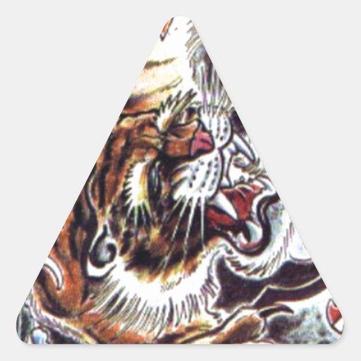 tatouage japonais de tigre sticker triangulaire zazzle. Black Bedroom Furniture Sets. Home Design Ideas