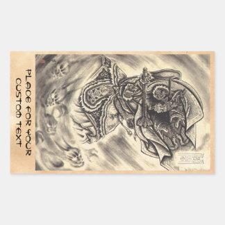 Tatouage japonais vintage classique frais d'encre stickers rectangulaires