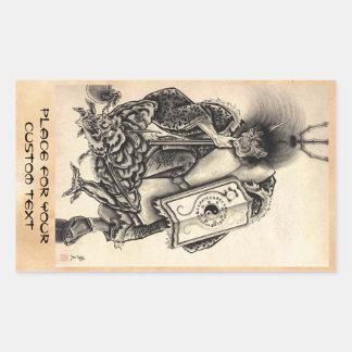 Tatouage japonais vintage classique frais d'encre sticker rectangulaire