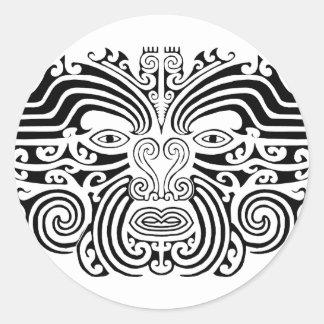 Tatouage maori - noir et blanc sticker rond