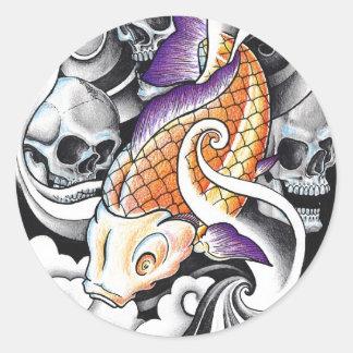 Tatouage oriental frais de crâne de carpe de Koi Autocollants Ronds