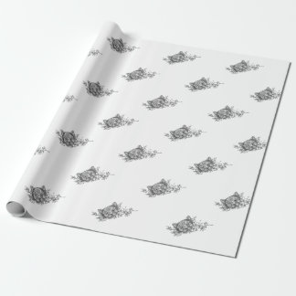 Tatouage principal de fleur de jasmin de chat papier cadeau