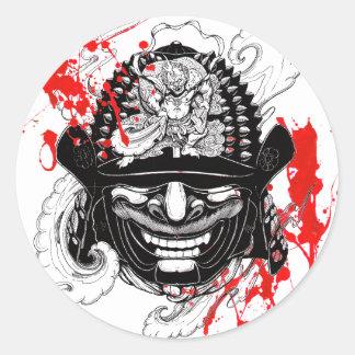 Tatouage samouraï de barre de masque de démon sticker rond