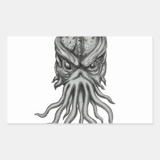 Tatouage souterrain de tête de monstre de mer sticker rectangulaire