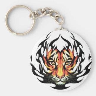 tatouage tribal de tigre porte-clé rond