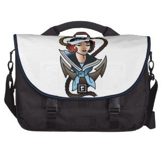 tatouage vintage de marine de fille de marin sacoche ordinateur portable