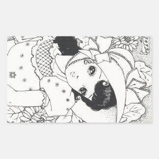 Tatouage vintage d'encre de fille de kawaii de stickers rectangulaires