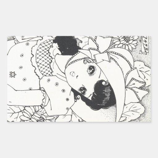 Tatouage vintage d'encre de fille de kawaii de man stickers rectangulaires