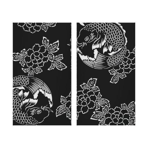 Tatouage vintage koi carpe de japonais toile tendue sur for Koi en japonais