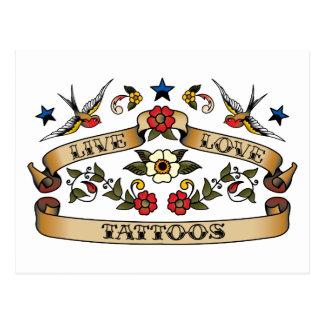 Tatouages vivants d'amour carte postale