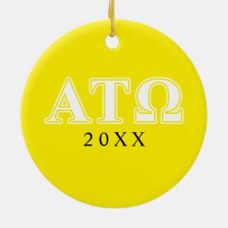 Tau lettres blanches et jaunes d'Omega d'alpha Ornement Rond En Céramique