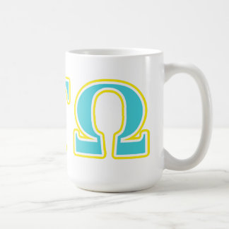 Tau lettres bleues et jaunes d'Omega d'alpha Mug
