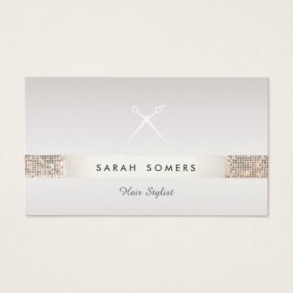 Taupe de paillette d'argent de FAUX de logo de Cartes De Visite