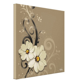 Taupe floral fleuri du Flourish | Toiles Tendues