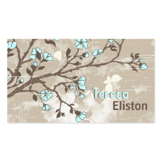 Taupe grunge floral de fleurs bleu-clair vintages