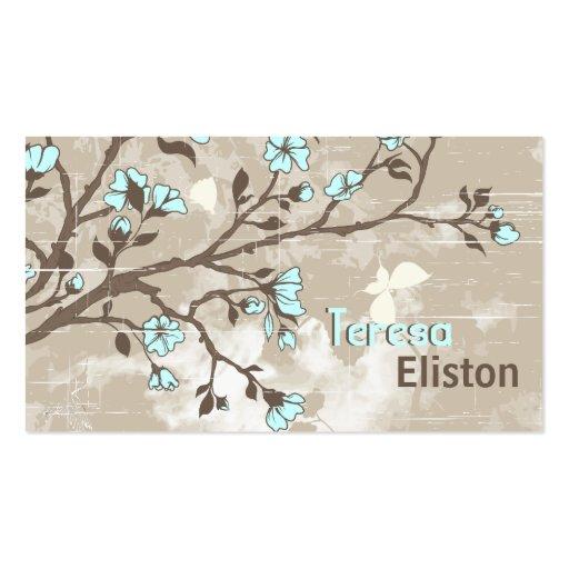 Taupe grunge floral de fleurs bleu-clair vintages cartes de visite professionnelles