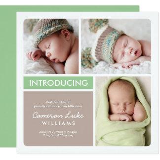 Taupe vert multiple du faire-part de naissance |