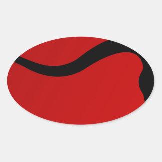Taureau noir sur le rouge sticker ovale
