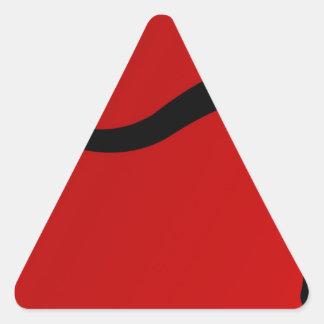 Taureau noir sur le rouge sticker en triangle
