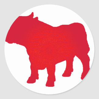 Taureau voient le rouge autocollants ronds