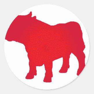 Taureau voient le rouge sticker rond