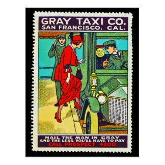 Taxi gris Cie. SF de carte postale de timbre