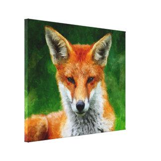 TCWC - Peinture d'aquarelle de Fox rouge sur la to Toile Tendue Sur Châssis