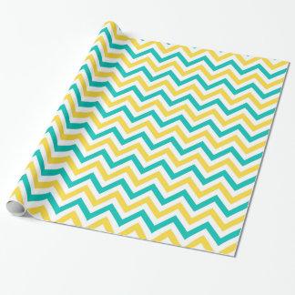 Teal, ananas, grand motif de zigzag blanc de papier cadeau