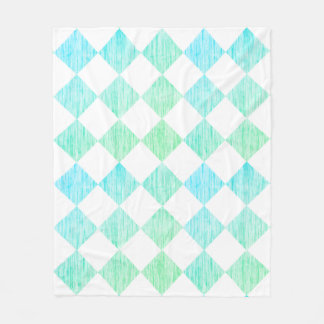 Teal Checkered Couverture Polaire