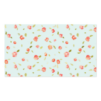 Teal chic minable et arrière - plan rose floral carte de visite standard