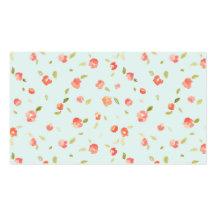 Teal chic minable et arrière - plan rose floral ro cartes de visite personnelles