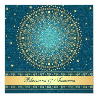 Teal complexe, or met en rouleau des étoiles carton d'invitation  13,33 cm