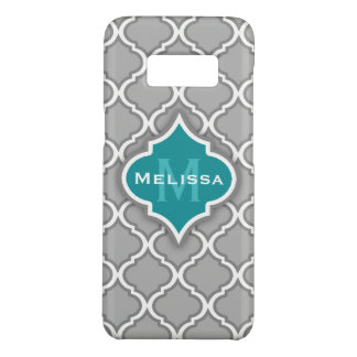 Teal élégant et motif marocain gris de tuile coque Case-Mate samsung galaxy s8