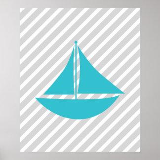 Teal et bateau nautique rayé gris posters