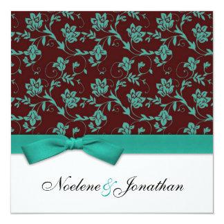 Teal et faire-part de mariage de fleur d'arc de carton d'invitation  13,33 cm